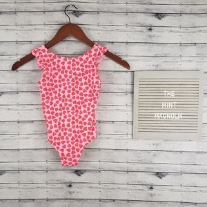 Crewcuts Pink Red Hearts Ruffle Sleeve Swimsuit